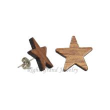 Günstige kleine Holz Ohrstecker 14mm natürliche organische Holz Stern Ohrstecker