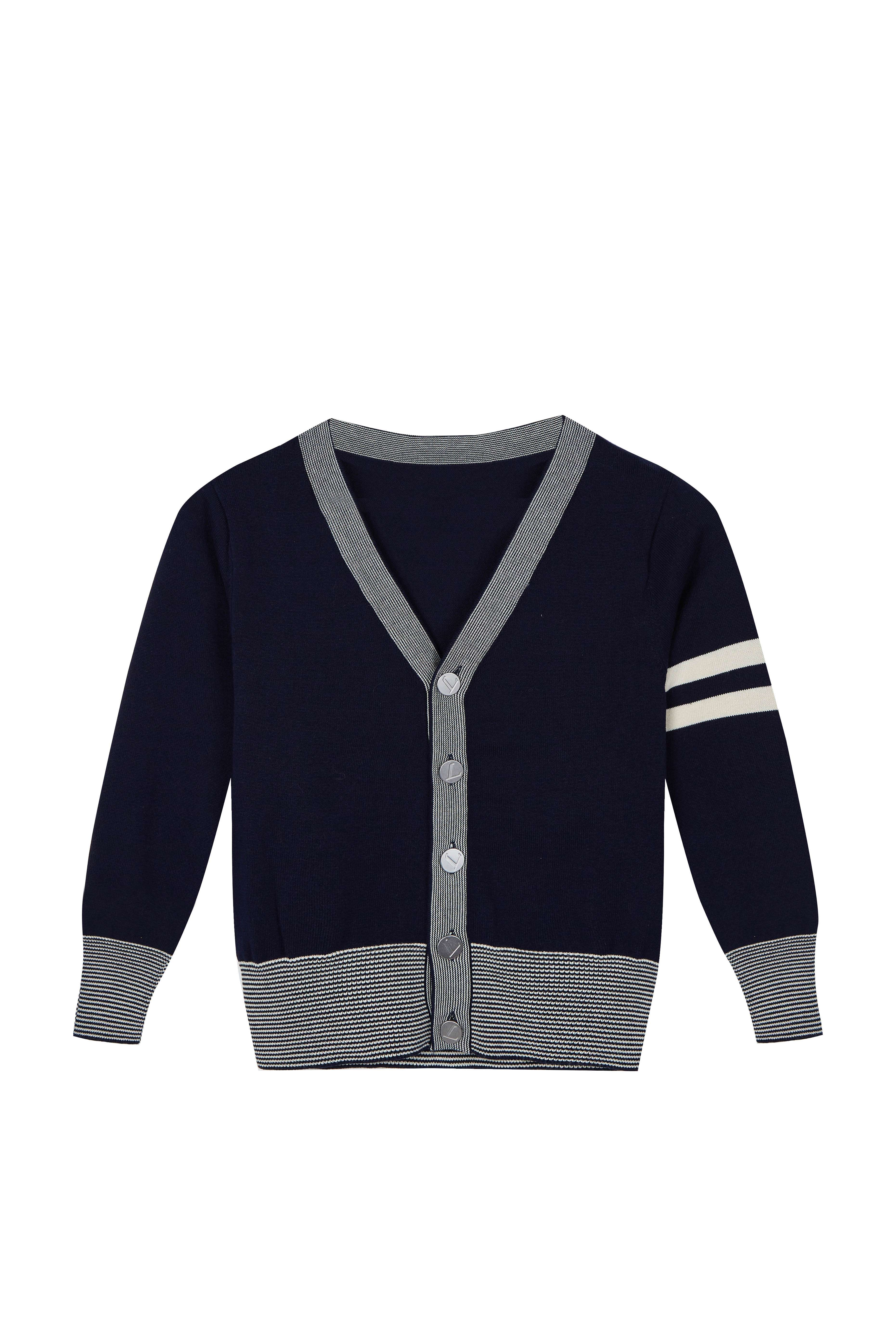 Boy's Sweater Casual Vest Cotton V-Neck School Uniform Button Cardigan