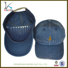оптовая бейсбольная кепка/высокое качество пользовательских вышивка логотипа ковбой бейсболки/мыть металлическая кнопка бейсболки