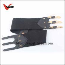 Elegant Black with Special Buckle Women's Dressy Elastic Belt