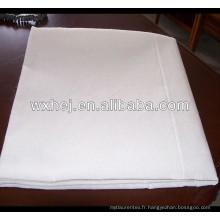 Tissu plat uni en coton blanc pour hôtel