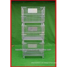 Jaulas de almacenamiento plegables galvanizadas con ruedas