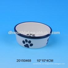 2016 cucharas de cerámica del animal doméstico del diseño encantador de la huella, tazones de cerámica del perro, tazón de fuente de cerámica del gato