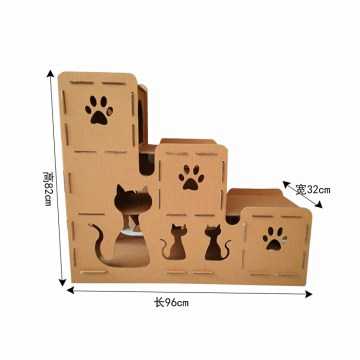 cardboard cat scratching playhouse