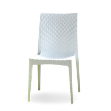 White rattan weave stackable plastic armless chair