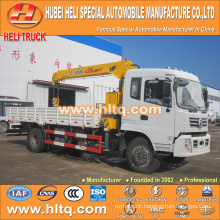 DONGFENG 4x2 straight arm 6.3 tons truck with loading crane 190hp hot sale for export