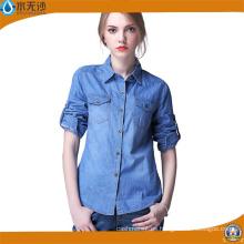 Camisa de manga larga de la blusa de mezclilla de las mujeres del OEM de la fábrica