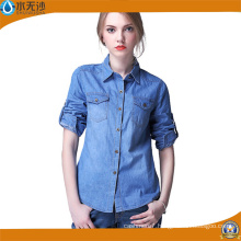 Factory OEM Women Long Sleeve Shirt Denim Blouse Shirts