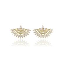 91903 xuping moda em forma de leque de design 14 k cor de ouro zircão pavimentou senhoras brincos
