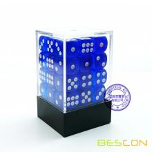 Bescon 12mm 6 Sided Dice 36 in Brick Box, 12mm Six Sided Die (36) Block of Dice, Translucent Loyal Blue with White Pips