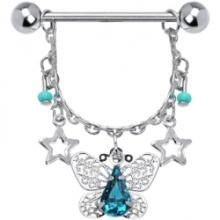 Piercing no mamilo borboleta elaborado Zircon azul