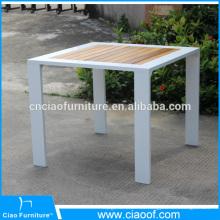 Mesa de aluminio al aire libre de madera de la teca de Fram del cuadrado