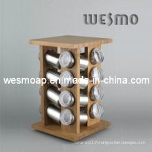 Porte-épices en bambou pivotant / porte-épices en bambou