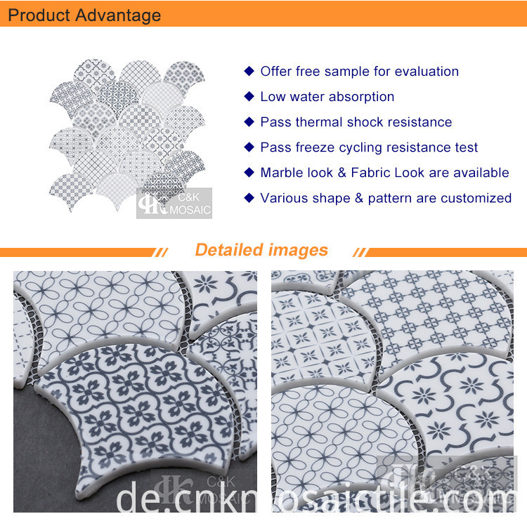 Glossy Fish Scale Kitchen Inkjet Mosaic (2)