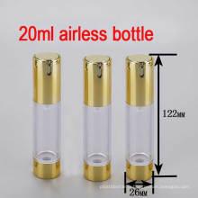 Bouteille de pompe Airless de 20 ml en or / ronde / vide / petite bouteille de luxe