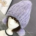 Top diseño italiano real piel pompom invierno sombrero lana