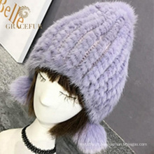 Top design italien véritable fourrure pompon hiver chapeau laine