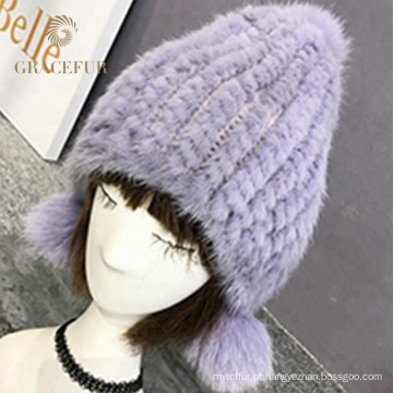 Top design italiano real pele pompom inverno chapéu lã
