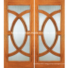 Half Circle Double Leaf Wooden Entry Door with Glass