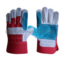 Cow Split Leather Work Glove with Rubberized Cuff and Reinforced Palm