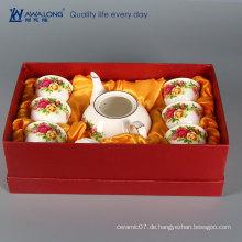 Weißes Porzellan-Goldrand stieg asiatische orientalische Teekanne eingestellt als Geschenk- / Weinleseteekanneteesätze für Hochzeit