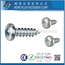 Made in Taiwan Fábrica Aço de carbono M2.6X6 Niquelado Cross Recess Drive Pan Head Tornos auto-roscados