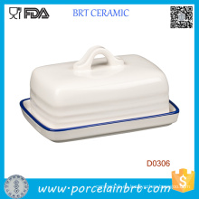 Plato de mantequilla de cerámica blanca promocional de la cocina