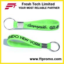 Porte-clés de bracelet en silicone imprimé promotionnel OEM avec votre logo