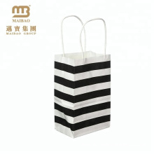 Wholesale Custom Kraft Small Black And White Stripe Gift Paper Bag With Sturdy Handle