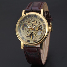 winner vintage watch with burgundy leather band automatic movment watch