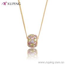 32413-Mejor venta Crystal Ball Diamond CZ 18k oro colgante de joyería collar