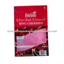 saco de mylar ziplock personalizado para chocolate cereja