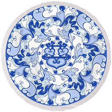 100% cotton Chinese traditional blue and white porcelain style pattern with tassels Round Beach Towel RBT-146
