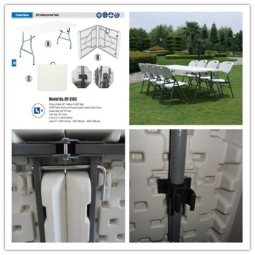 6ft 183cm Blow Mold HDPE Plastic Table/Portable Easy Carrying Lightweight Solid Table/Banquet Rectangle Folding in Half Table (HQ-Z183)