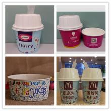 Copos de papel de sorvete com tampas