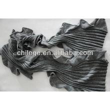 Écharpe à tricoter en cachemire à volants