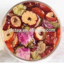 Té verde con sabor y té negro con flores como wolfberry, espino blanco, caramelo de roca, rosa, jazmín