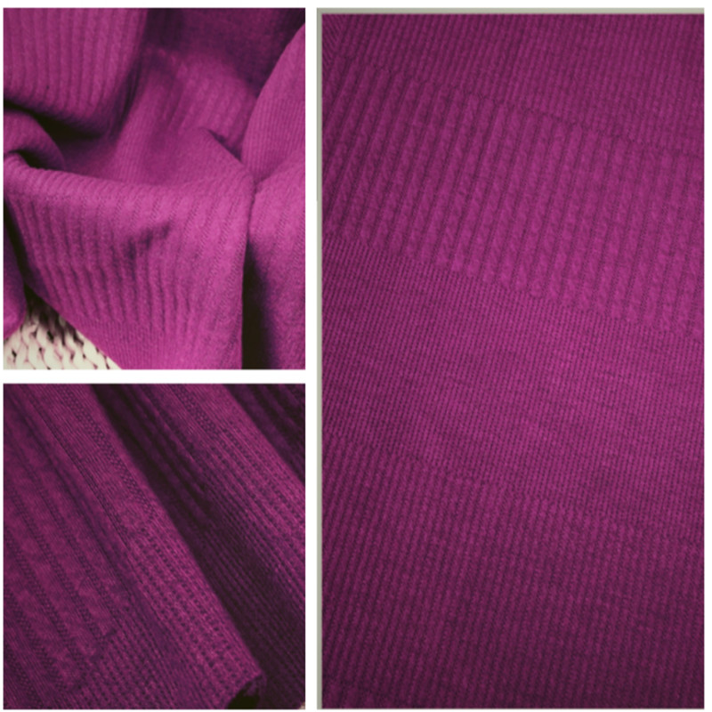 Purple Women Jacquard Double Knitting Winter Dobby Fabrics