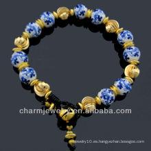 Estilo Vintage mano a mano de porcelana de cuentas flor de cerámica pulsera Vners BC-006