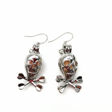 Love Pearl Skull Pendentif Cage Pearl Beads Earrings
