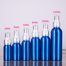 Bouteille de parfum en aluminium avec pompe à pulvériser en aluminium et PP Top