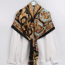 New Trend Products Dubai Satin Head Scarf Cross Stitch Style Pattern Women Scarves