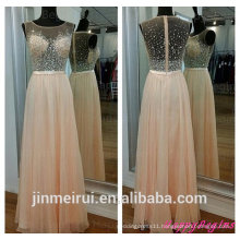 See Through Long Beaded Chiffon Pearl Pink Formal Evening Gown Peach Color Evening Dresses Women