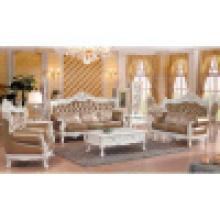 Sofá de couro clássico com moldura de sofá de madeira (512C)