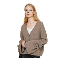 PK18A72HX Women 100% Cashmere Cardigan Sweater Oversized Lace-Up Bell Sleeve Cardigan