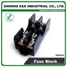 FB-6012 Montaje en panel de 600 V 2 polos de 15 amperios Base de fusibles de vidrio