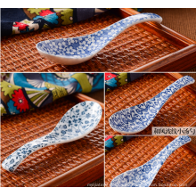 Japanese style ceramic soup spoon with full around patter printing.