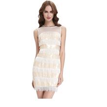Kate Kasin Sleeveless Mid-Thigh Sequined Tassel Ball Prom Dress KK000125-1