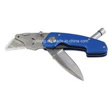Cuchillo plegable de doble hoja con LED