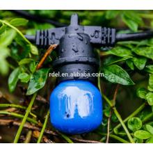 SLT-151 54 FT Black Cord, 24 Socket Iluminación para exteriores comercial, S14 Bulbs